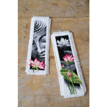 Vervaco Borduurpakket bladwijzer lotus en boeddha - set van 2