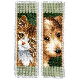 Vervaco Borduurpakket bladwijzer poes en hond - set van 2