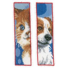 Vervaco Borduurpakket bladwijzer kat en hond - set van 2