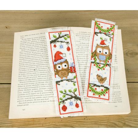 Vervaco Borduurpakket bladwijzer uiltjes met kerstmuts - set van 2