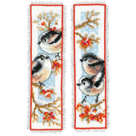 Vervaco Borduurpakket bladwijzer staartmeesjes en rode bessen - set van 2