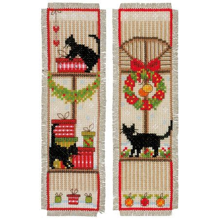Vervaco Borduurpakket bladwijzer kerstsfeer - set van 2