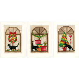 Vervaco Borduurpakket wenskaart kerstsfeer set van 3
