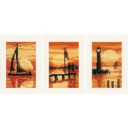Vervaco Borduurpakket wenskaart zonsondergang set van 3