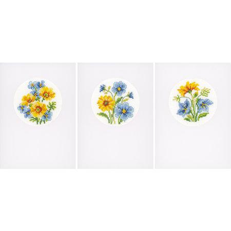 Vervaco Borduurpakket wenskaart gele en blauwe bloempjes set van 3