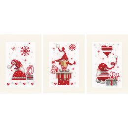 Vervaco Borduurpakket wenskaart kerstkabouters met cadeaus set van 3