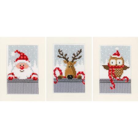 Vervaco Borduurpakket wenskaart kerstfiguren I set van 3