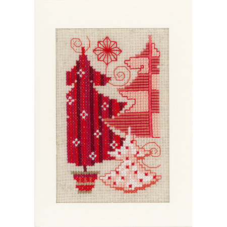 Vervaco Borduurpakket wenskaart kerstmotieven set van 3