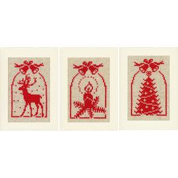 Vervaco Borduurpakket wenskaart hert, kaars en kerstboom set van 3