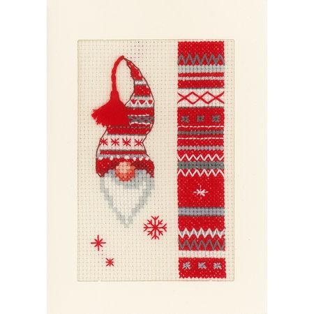 Vervaco Borduurpakket wenskaart kerstkabouters set van 3