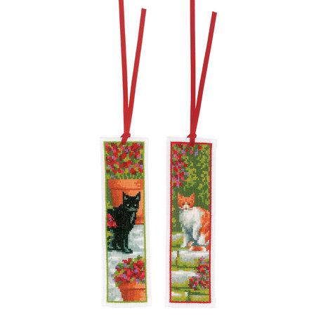 Vervaco Borduurpakket bladwijzer Poezen tussen bloemen  - set van 2