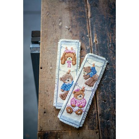 Vervaco Borduurpakket bladwijzer Geboorte Beertjes  - set van 2
