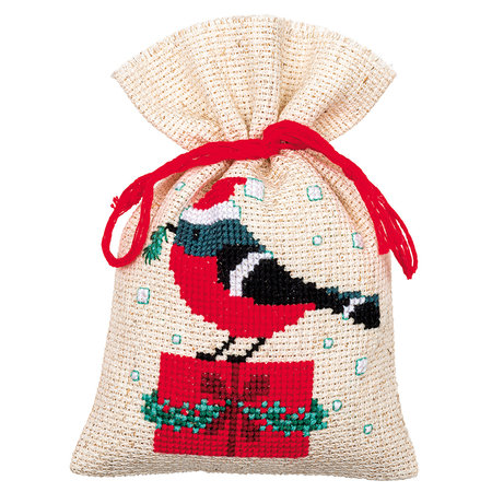 Vervaco Borduurpakket Kruidenzakje Kerstvogeltje En Huisje - Set van 3