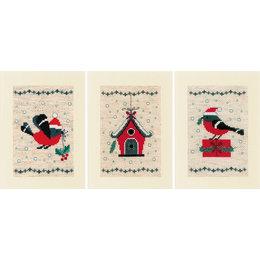 Vervaco Borduurpakket wenskaart Kerstvogeltje En Huisje set van 3