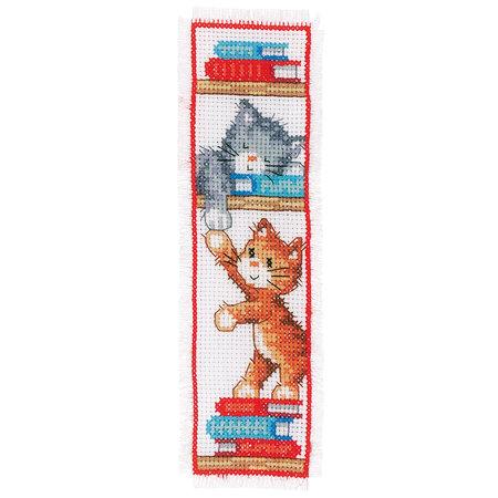 Vervaco Borduurpakket bladwijzer Speelse Kittens - set van 2