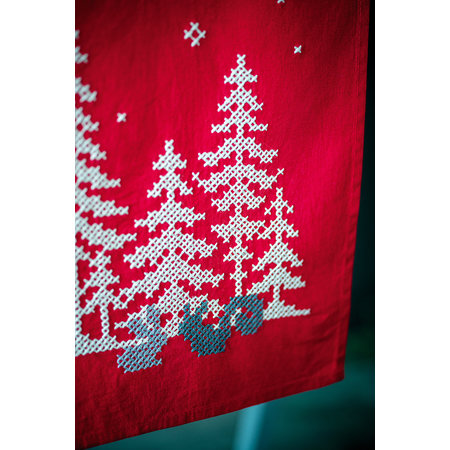 Vervaco Borduurpakket Tafelloper Kerstbomen En Bosdiertjes