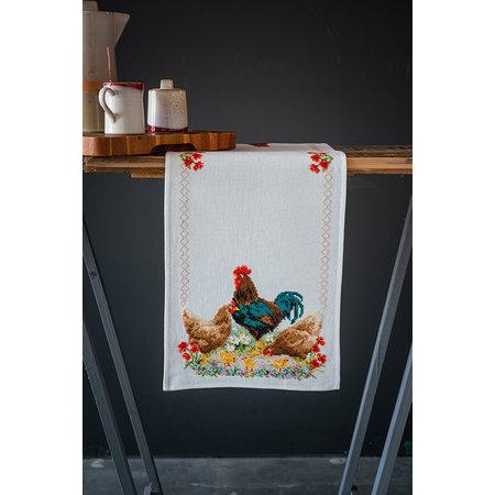 Vervaco Borduurpakket Tafelloper Haan en Kippen