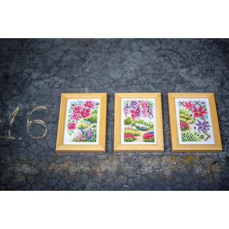 Vervaco Borduurpakket Miniatuur In mijn tuin -  set van 3