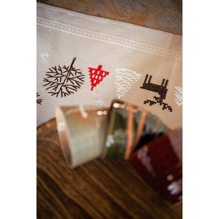 Vervaco Borduurpakket Tafelkleed moderne kerstmotieven