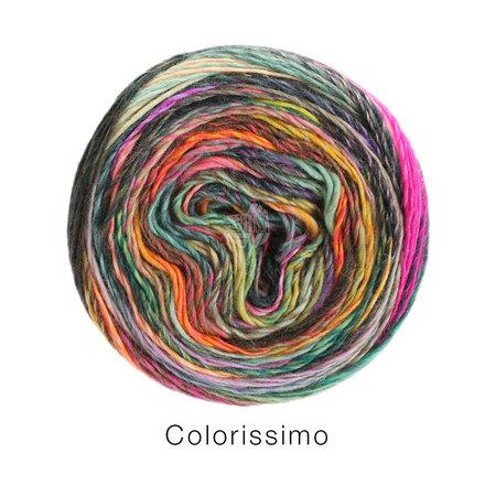 Lana Grossa Colorissimo 10 - mosterd/petrol/zalm/felroze/orchidee/munt/donker groen