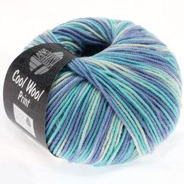 Lana Grossa Cool Wool Print 728 - hemelsblauw/lichtturkoois/ecru
