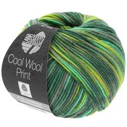 Lana Grossa Cool Wool Print 820 - licht groen/donker groen/geelgroen/grijs/jade