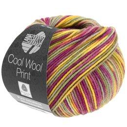 Lana Grossa Cool Wool Print 822 - magenta/geel/kaki/grijs blauw/oranje