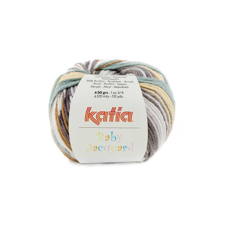 Katia Baby Jacquard  91 - Zandgeel/Grijs/Witgroen