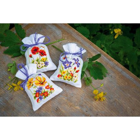 Vervaco Borduurpakket Kruidenzakje Zomerbloemen - set van 3