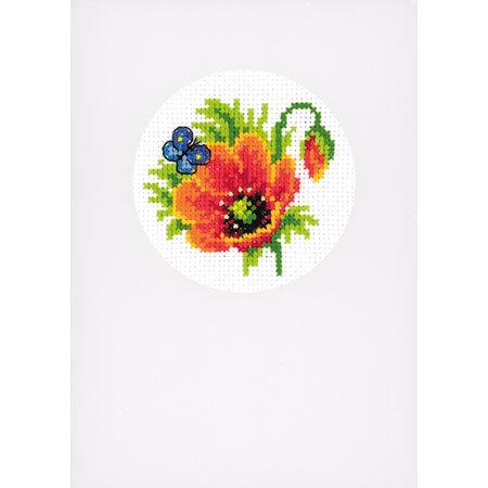 Vervaco Borduurpakket wenskaart Zomerbloemen set van 3