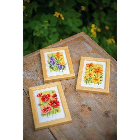 Vervaco Borduurpakket Miniatuur Zomerbloemen -  set van 3