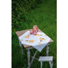 Vervaco Borduurpakket Tafelkleed Oranje Bloemen en Vlinders