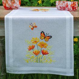 Vervaco Borduurpakket Tafelloper Oranje Bloemen en Vlinders