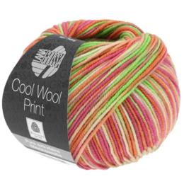 Lana Grossa Cool Wool Print 823 - Licht Groen/Anjer Roze/ Oranje/Perzik