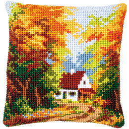 Vervaco Kussen Huisje in herfstbos