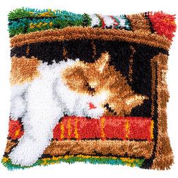 Vervaco Knoopkussen Slapende kat op boekenrek