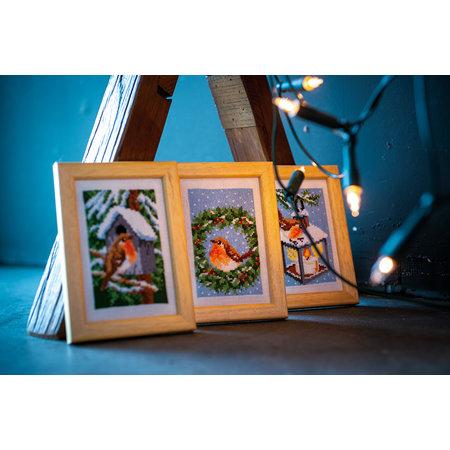 Vervaco Borduurpakket Miniatuur Roodborstje in de winter -  set van 3