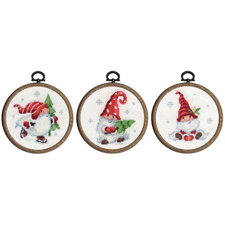 Vervaco Borduurpakket Miniatuur Kerstkabouters in de sneeuw  -  set van 3