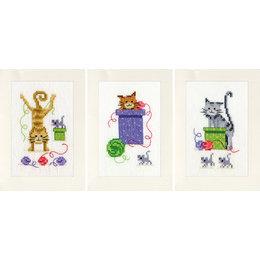 Vervaco Borduurpakket wenskaart Speelse katten -  set van 3