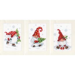 Vervaco Borduurpakket wenskaart kerstkabouters in de sneeuw -  set van 3
