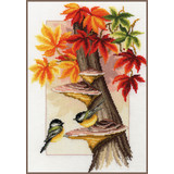 Lanarte Borduurpakket Meesjes tussen herfstbladeren