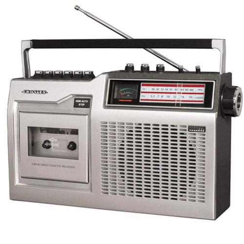 Crosley Crosley CT200 Draagbare Retro Radio Cassetterecorder Zilver