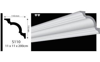 Vidella VS110 (110 x 110 mm), plafondlijst, sierlijst, lengte 2 m OP=OP