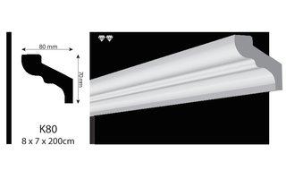 Vidella VK80 (80 x 70 mm), plafondlijst, sierlijst,  lengte 2 m