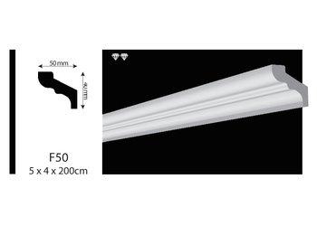Vidella VF50 (50 x 40 mm), plafondlijst, sierlijst, lengte 2 m