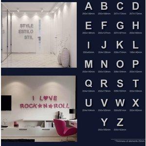 Art Décor 3D Letters Alfabet en Symbolen Polyurethaan hoogte ca. 20 cm (geen piepschuim!)