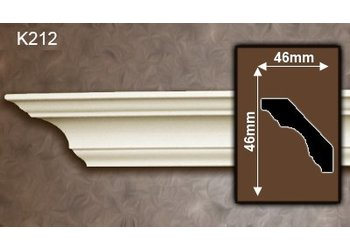 Grand Decor Kroonlijst K212 (46 x 46 mm), polyurethaan, lengte 2 m OP=OP 50% korting