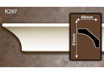 Grand Decor Kroonlijst K267 (61 x 69 mm), polyurethaan, lengte 2 m