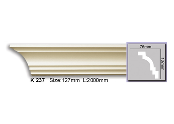 Grand Decor Kroonlijst K237 (102 x 76 mm), polyurethaan, lengte 2 m