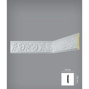 Bovelacci Classicstyl C3012 (125 x 16 mm), lengte 2 m - Wandlijst Polyurethaan (PU) - Z12